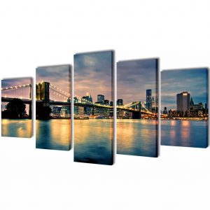 vidaXL Bilder Dekoration Set Brooklyn Bridge Seeblick 200 x 100 cm Mehrfarbig 8718475903031
