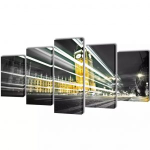 vidaXL Bilder Dekoration Set London Big Ben 200 x 100 cm Mehrfarbig 8718475902935