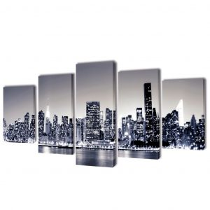 vidaXL Bilder Dekoration Set monochrome New York 200 x 100 cm Mehrfarbig 8718475902973