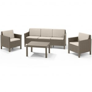 Allibert Garten-Sofagarnitur 14-tlg. Chicago Cappuccino 226529 Braun 8711245140421