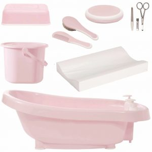 Bébé-Jou Baby-Badewanne mit Thermometer DeLuxe Click Rosa 4996054 Rosa 8714929996543